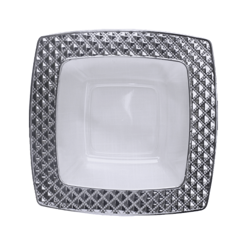 Decor China-Like Diamond 12 oz White-Silver Square Plastic Bowls
