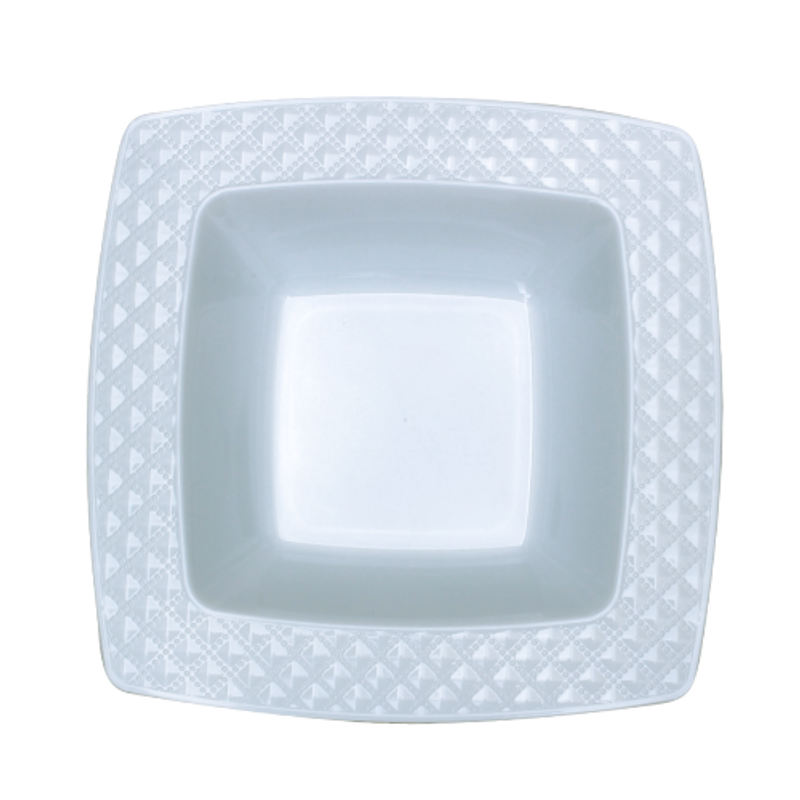 Decor China-Like Diamond 12 oz White-White Square Plastic Bowls