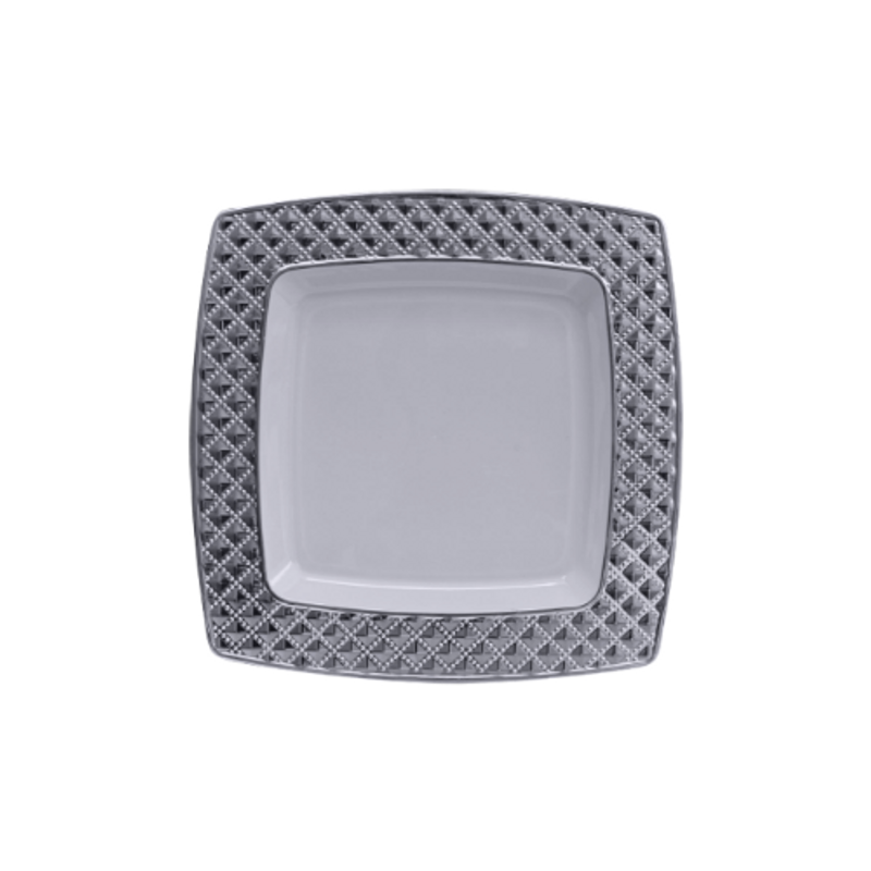 "Decor China-Like Diamond 6.2"" White-Silver Square Plastic Plates"