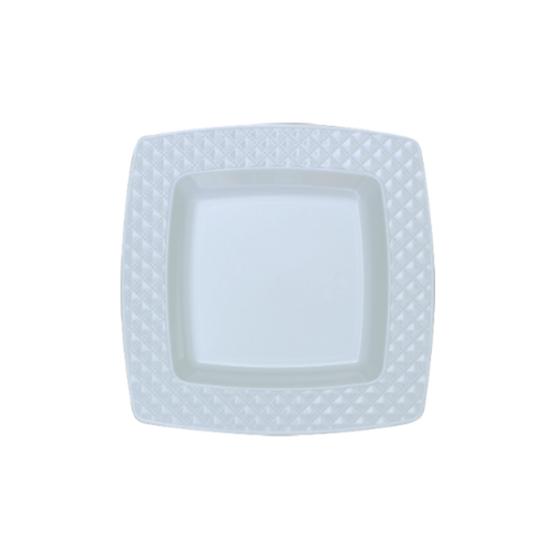 "Decor China-Like Diamond 6.2"" White-White Square Plastic Plates"
