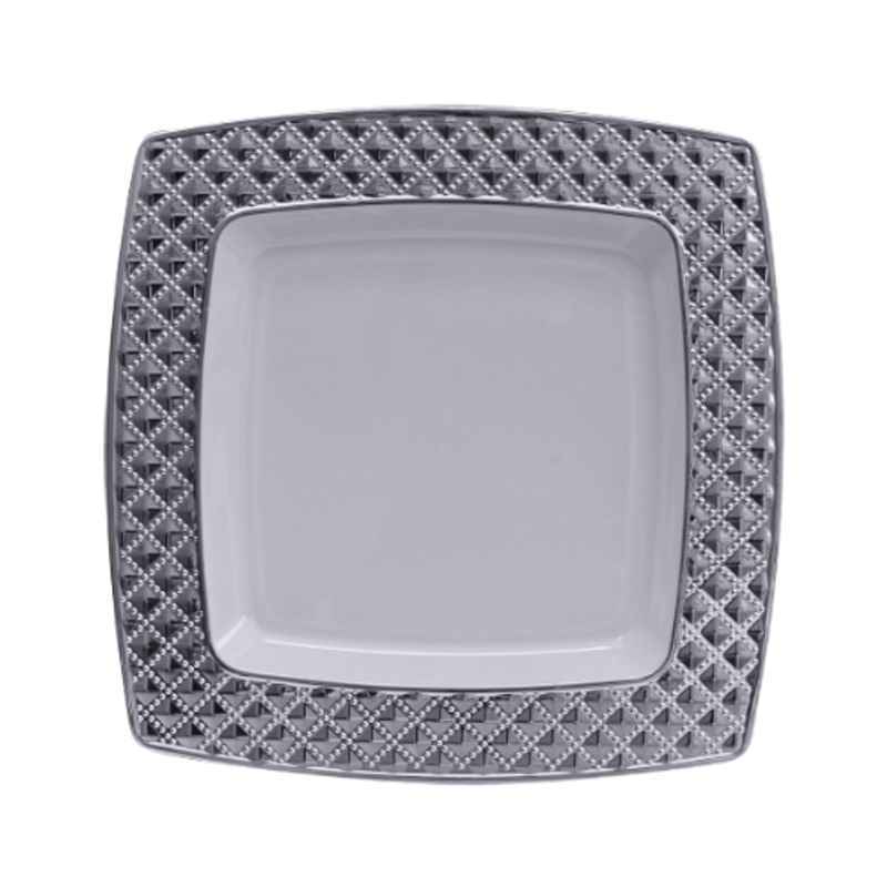 "Decor China-Like Diamond 7.6"" White-Silver Square Plastic Plates"