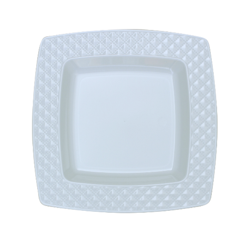 "Decor China-Like Diamond 7.6"" White-White Square Plastic Plates"
