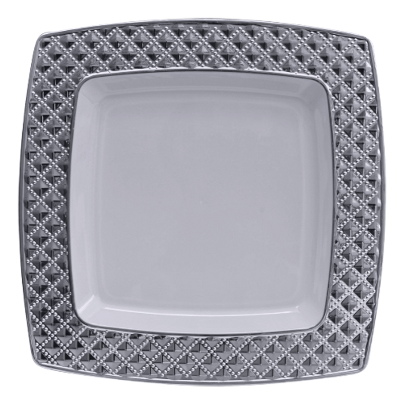 "Decor China-Like Diamond 9.75"" White-Silver Square Plastic Plates"