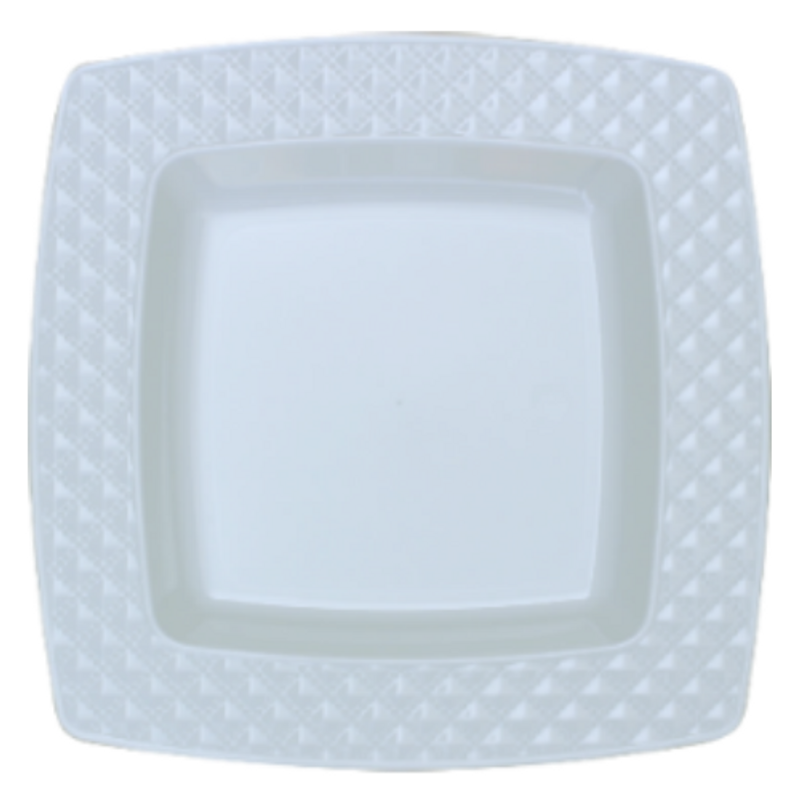 "Decor China-Like Diamond 9.75"" White-White Square Plastic Plates"