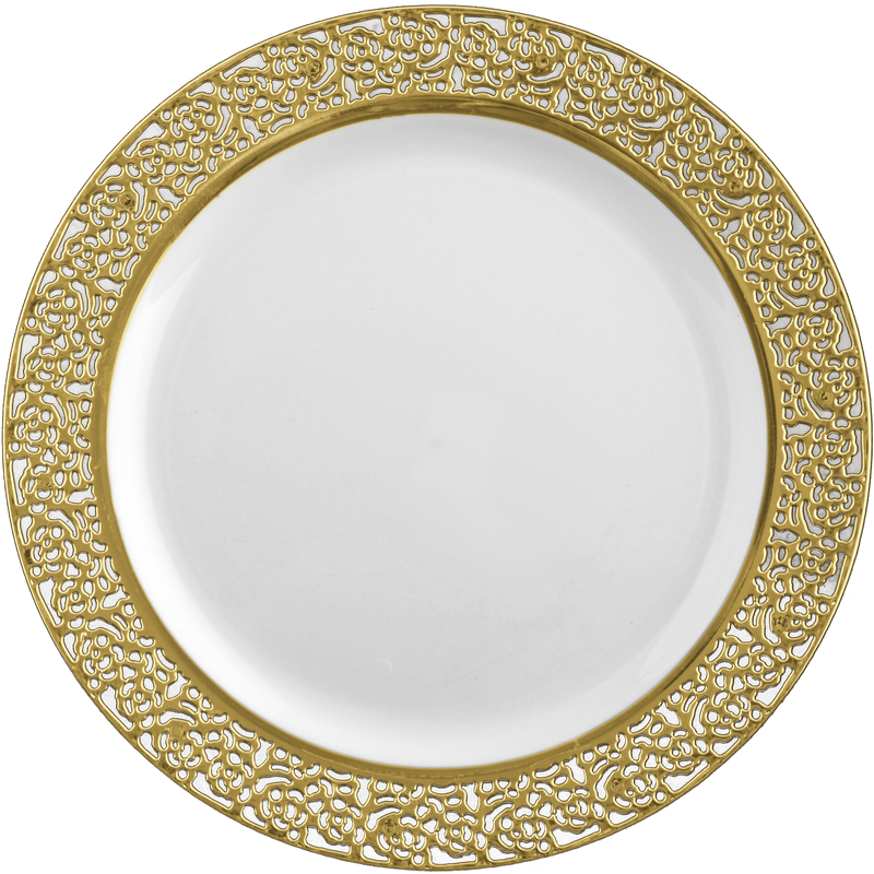 "Decor China-Like Inspiration 10.25"" White-Gold Plastic Plates"