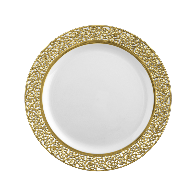"Decor China-Like Inspiration 7.25"" White-Gold Plastic Plates"
