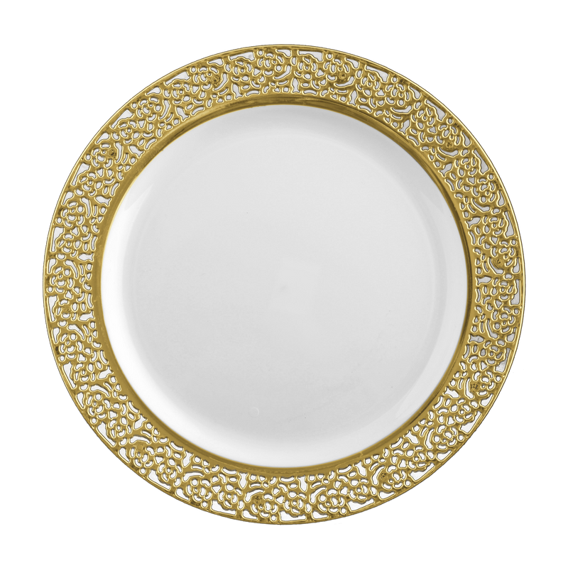 "Decor China-Like Inspiration 9"" White-Gold Plastic Plates"