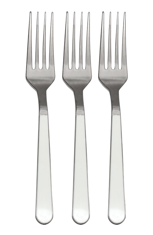Decor Duo Polished White-Silver Plastic Forks