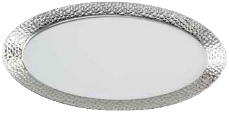"16.5"" x 7.5"" Decor Hammered Silver Plastic Serving Trays"