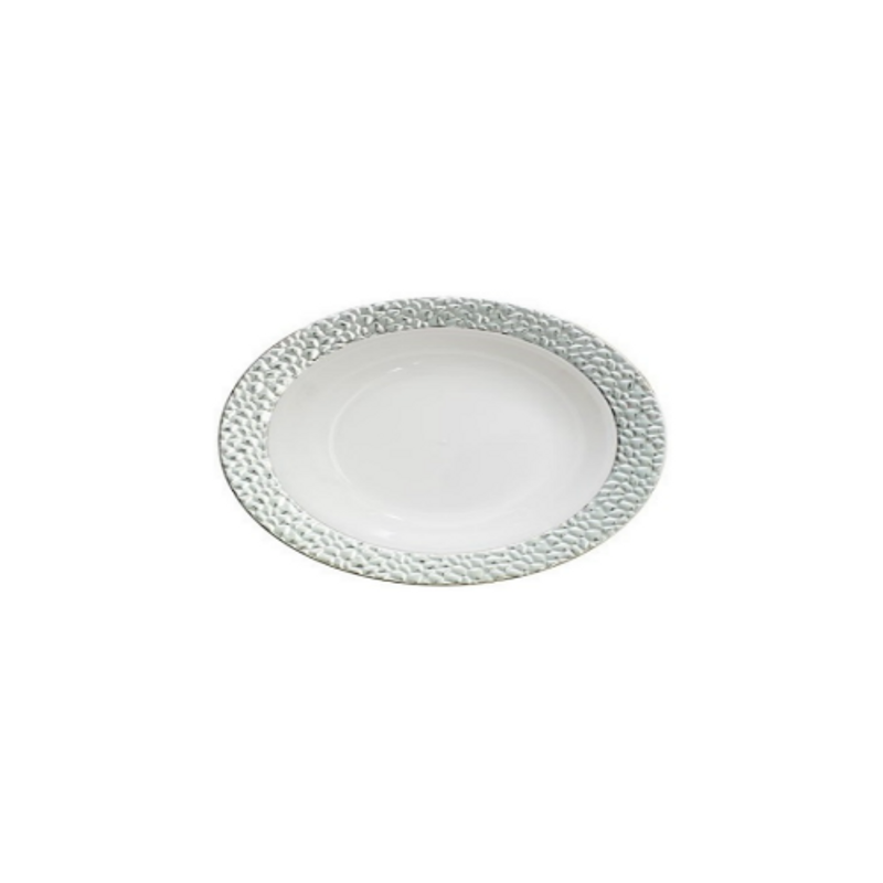 Decor China-Like Hammered 5 oz. White-Silver Oval Plastic Bowls