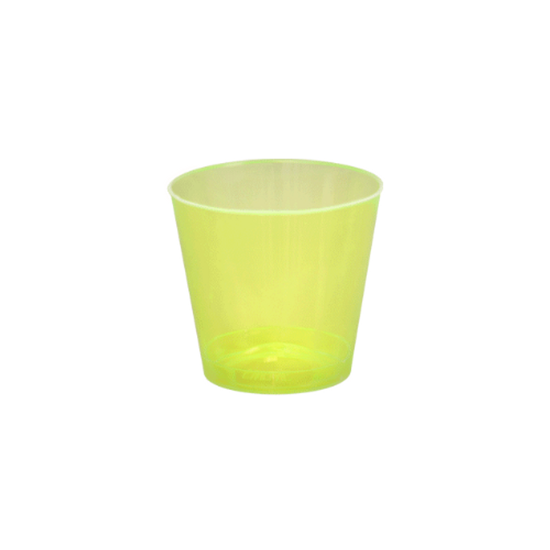 Quenchers 1 oz. Neon Yellow Plastic Shot Glasses