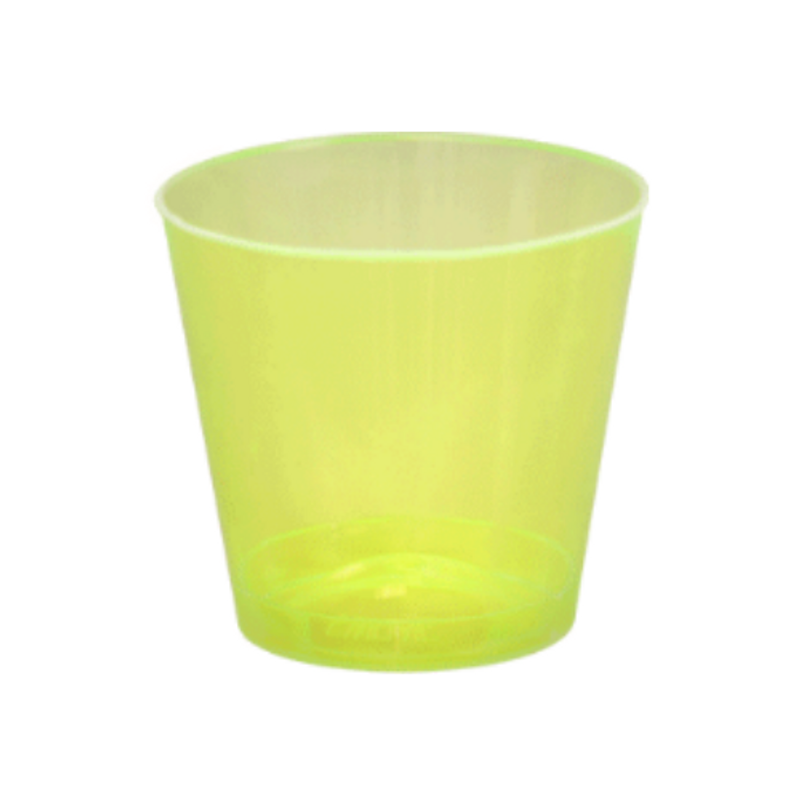 Quenchers 2 oz. Neon Yellow Plastic Shot Glasses