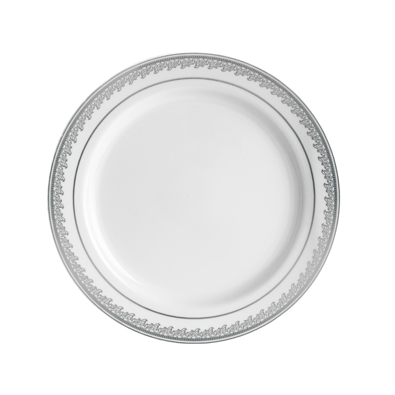 "Decor China-Like Prestige 9"" White-Silver Plastic Plates"