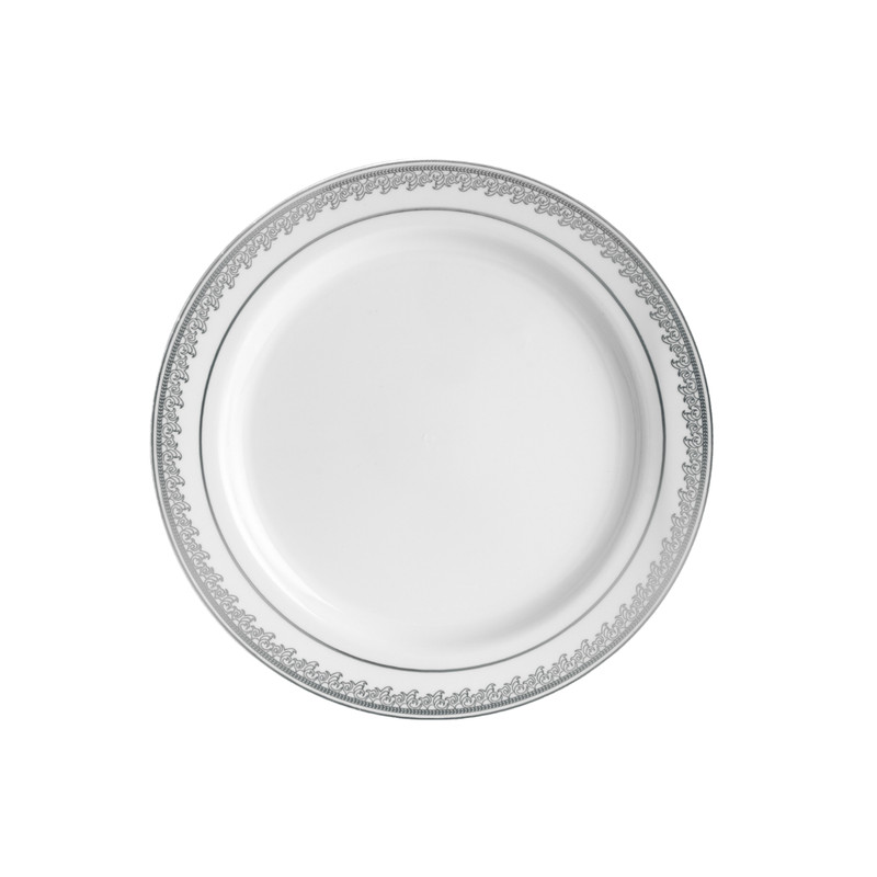 "Decor China-Like Prestige 7.25"" White-Silver Plastic Plates"