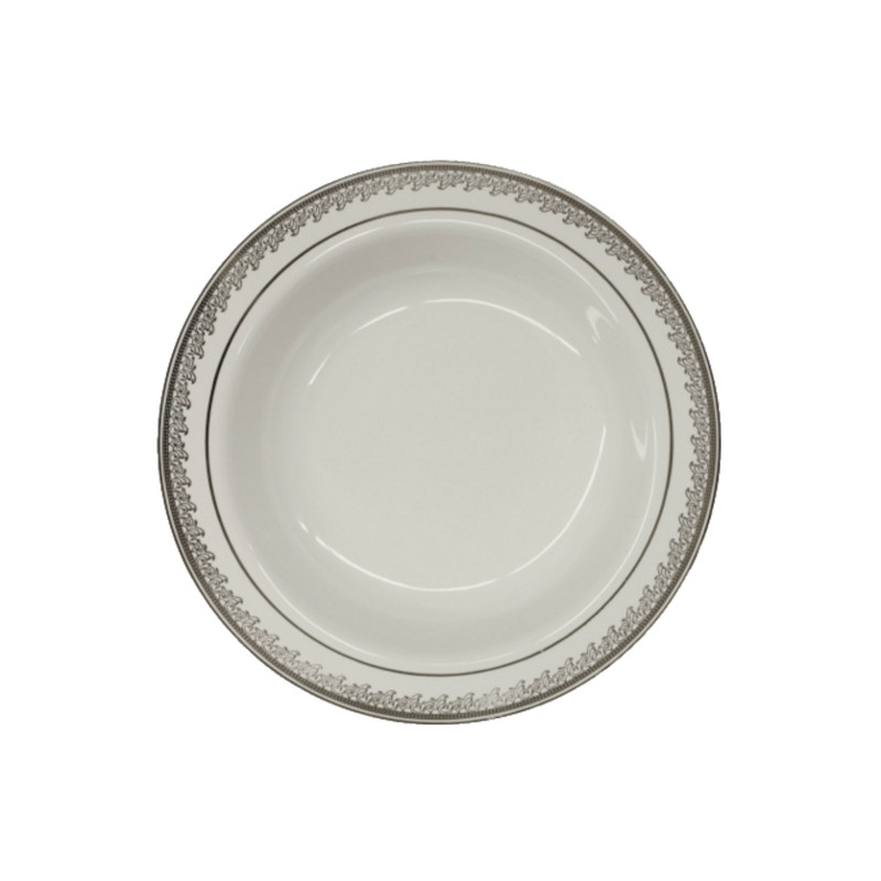 Decor China-Like Prestige 12 oz. White-Silver Plastic Soup Bowls