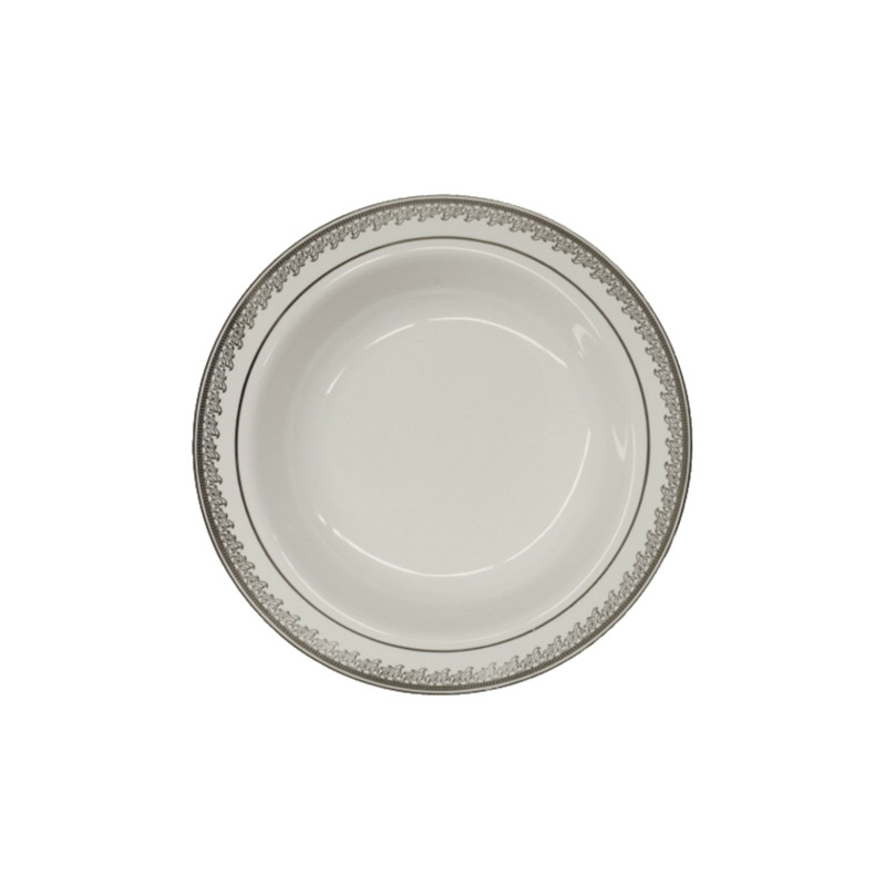 Decor China-Like Prestige 5 oz. White-Silver Plastic Dessert Bowls