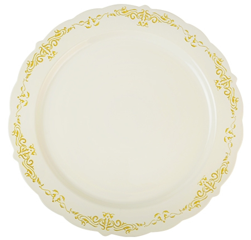 "Heritage China-Like 10"" Bone-Gold Plastic Dinner Plates"