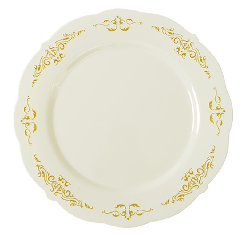 "Heritage China-Like 7.5"" Bone-Gold Plastic Appetizer Plates"