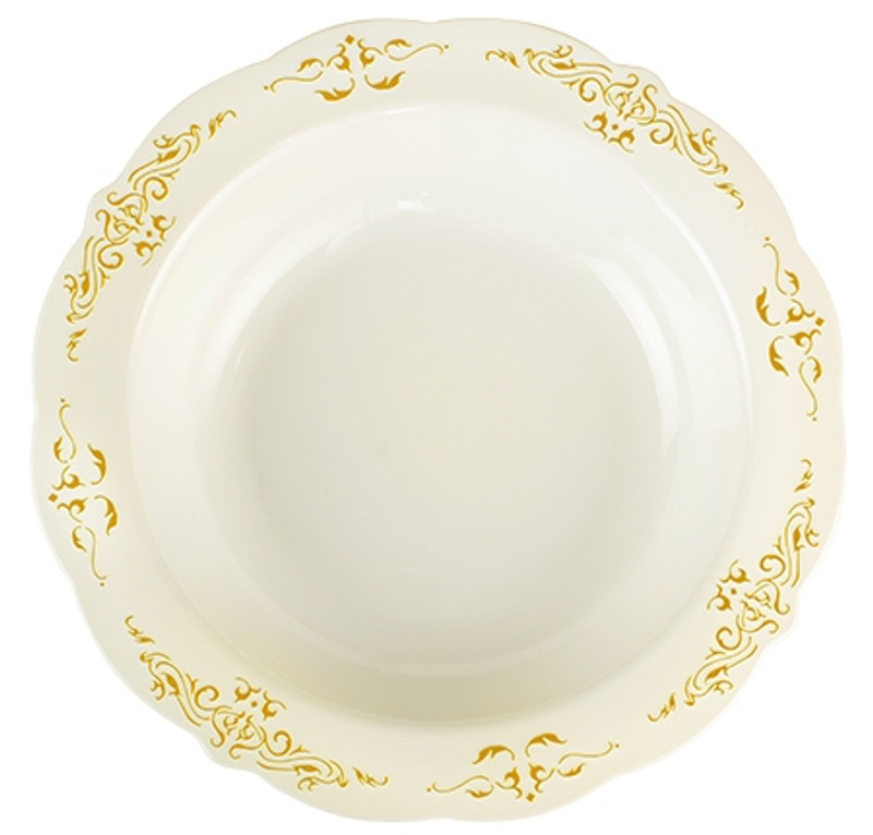Heritage China-Like 10 oz. Bone-Gold Plastic Soup Bowls