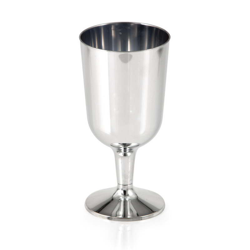 6 oz. Metallic Silver Plastic Wine Glasses