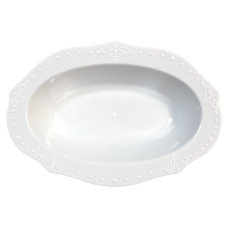 Decor China-Like Antique White Plastic Oval Dessert Bowls