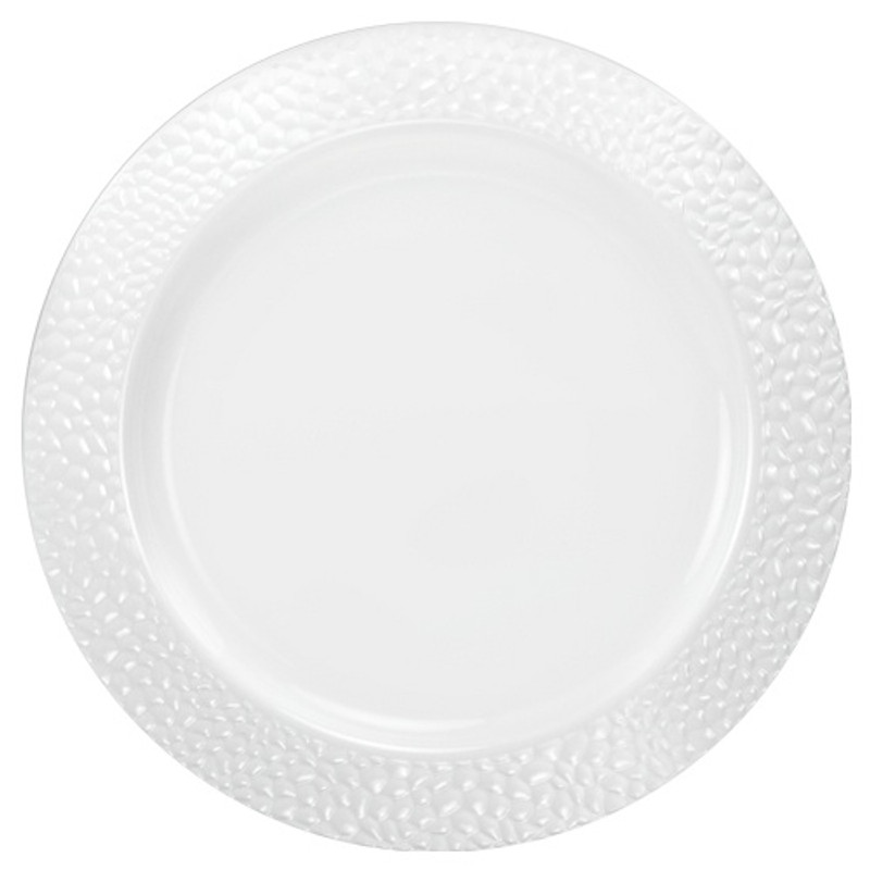 "Lillian China-Like Pebbled Pearl 10.25"" Plastic Plates"