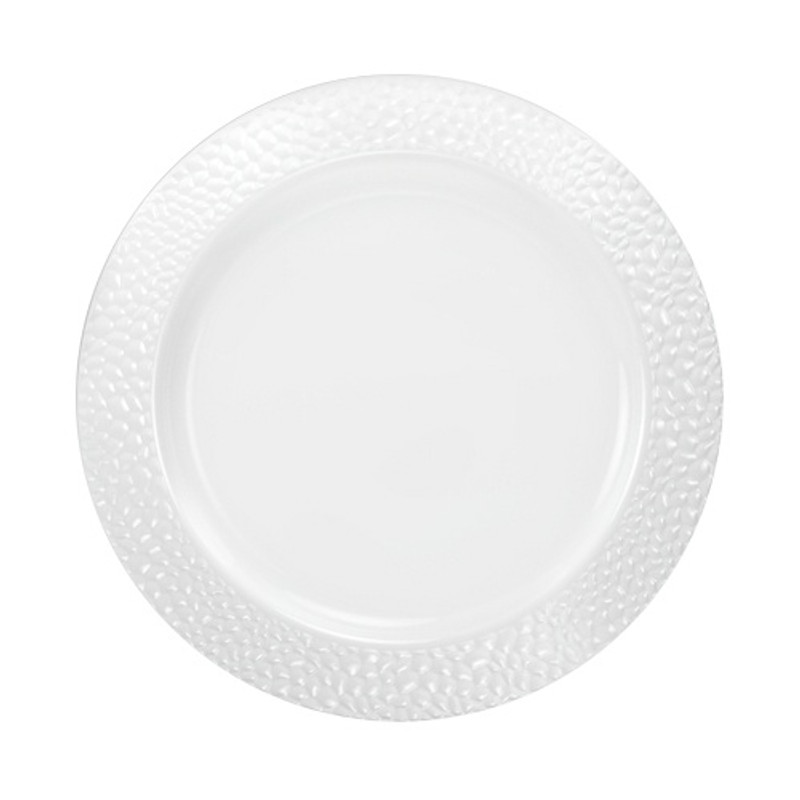 "Lillian China-Like Pebbled Pearl 9"" Plastic Plates"