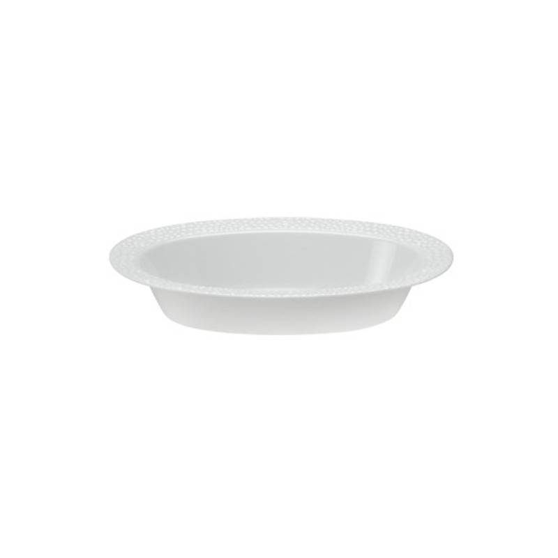 Lillian China-Like Pebbled Pearl 7 oz Plastic Oval Bowls