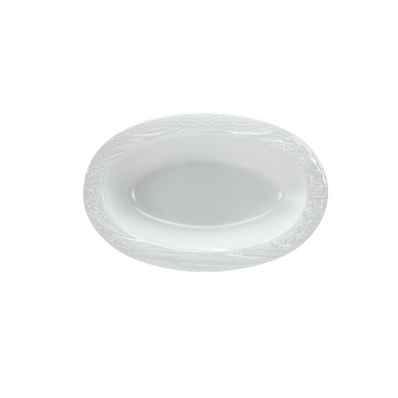 Lillian China-Like Pebbled Pearl 15 oz Plastic Oval Bowls