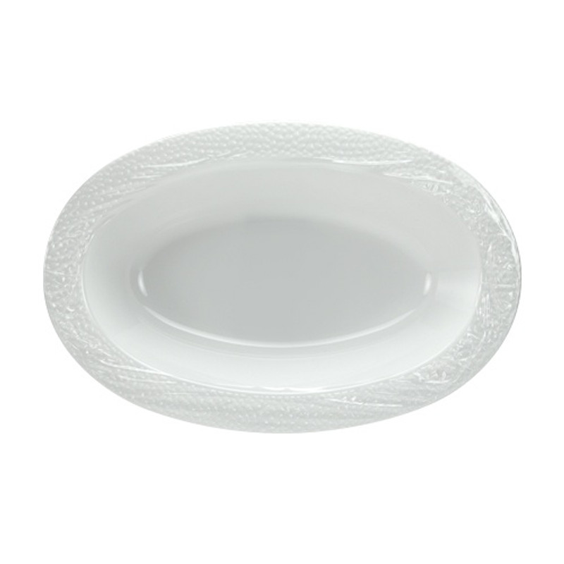 Lillian China-Like Pebbled Pearl 48 oz Clear Plastic Serving Bowls