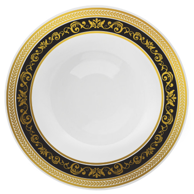 "Decor China-Like Royal 10.25"" Black-Gold Plastic Plates"