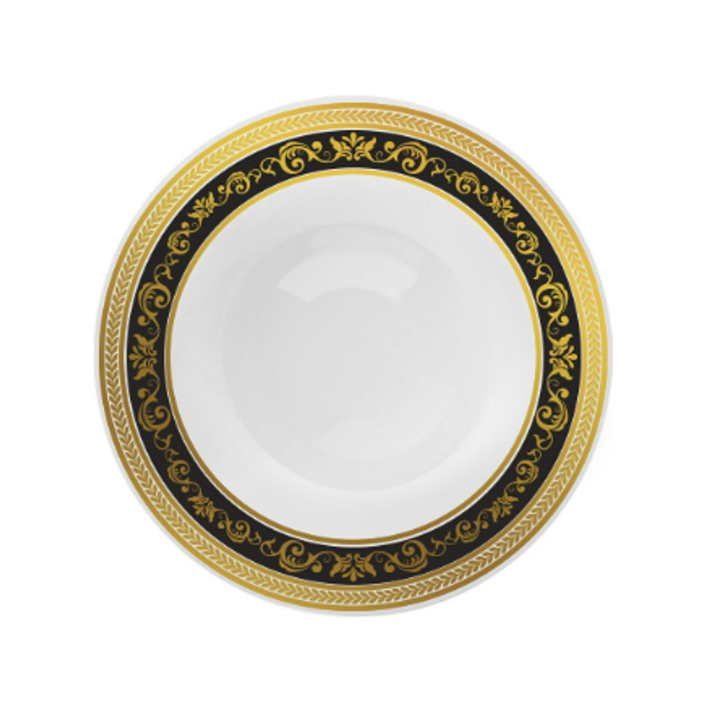 Decor China-Like Royal 12 oz. Black-Gold Plastic Soup Bowls