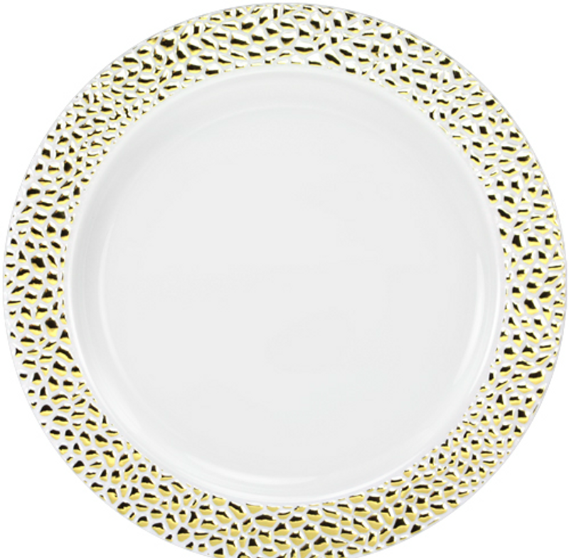 "Lillian China-Like Pebbled Gold 10.25"" Plastic Plates"