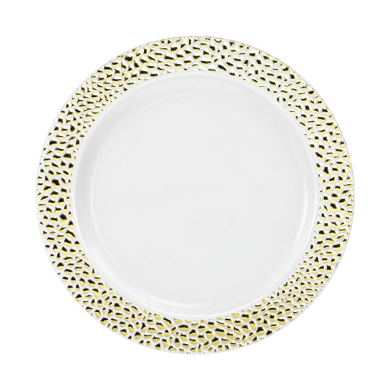 "Lillian China-Like Pebbled Gold 7"" Plastic Plates"