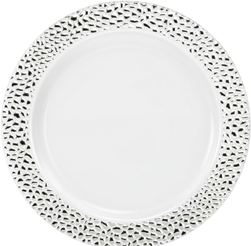 "Lillian China-Like Pebbled Silver 10.25"" Plastic Plates"