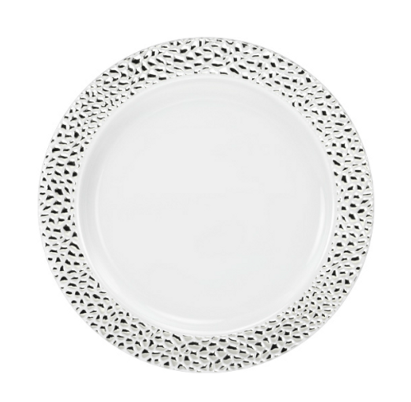 "Lillian China-Like Pebbled Silver 7"" Plastic Plates"