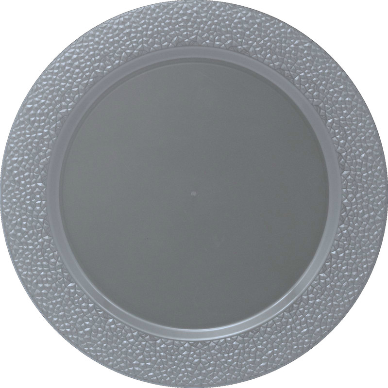 Décor Heavyweight Plastic Hammered Silver Chargers
