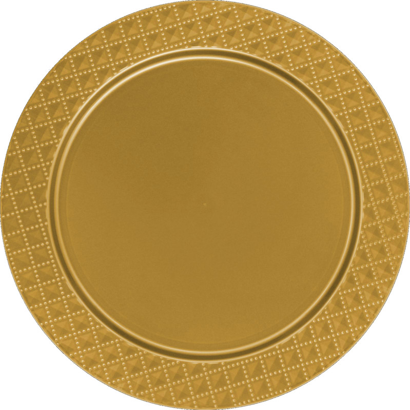 Décor Heavyweight Plastic Diamond Gold Chargers