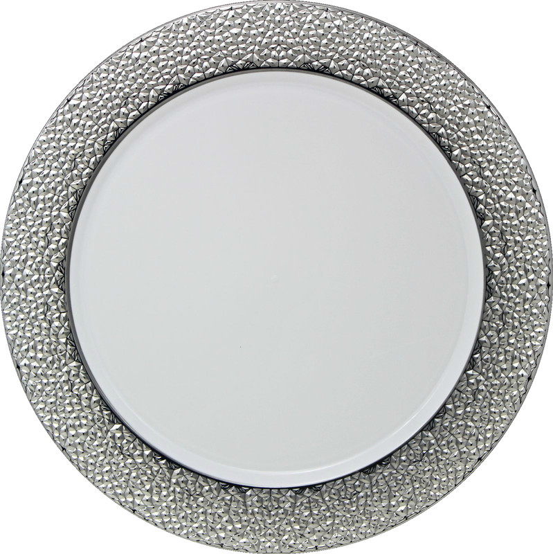 Décor Heavyweight Plastic Hammered Polished Silver/White Chargers