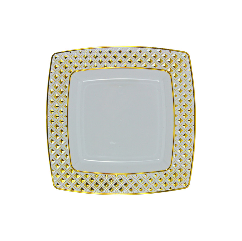 "Decor China-Like Diamond 6.2"" White-Gold Square Plastic Plates"