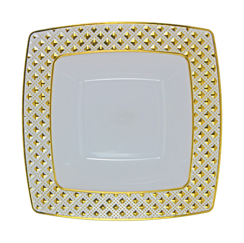 Decor China-Like Diamond 12 oz White-Gold Square Plastic Soup Bowls