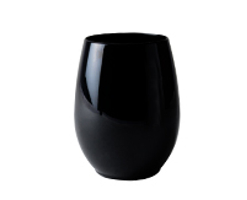 Renaissance 12 oz. Reusable Black Stemless Plastic Goblets