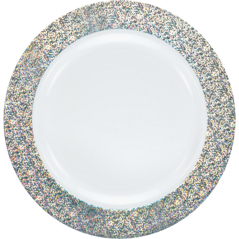 "Decor China-Like Glitter 10.25"" White-Silver Plastic Plates"