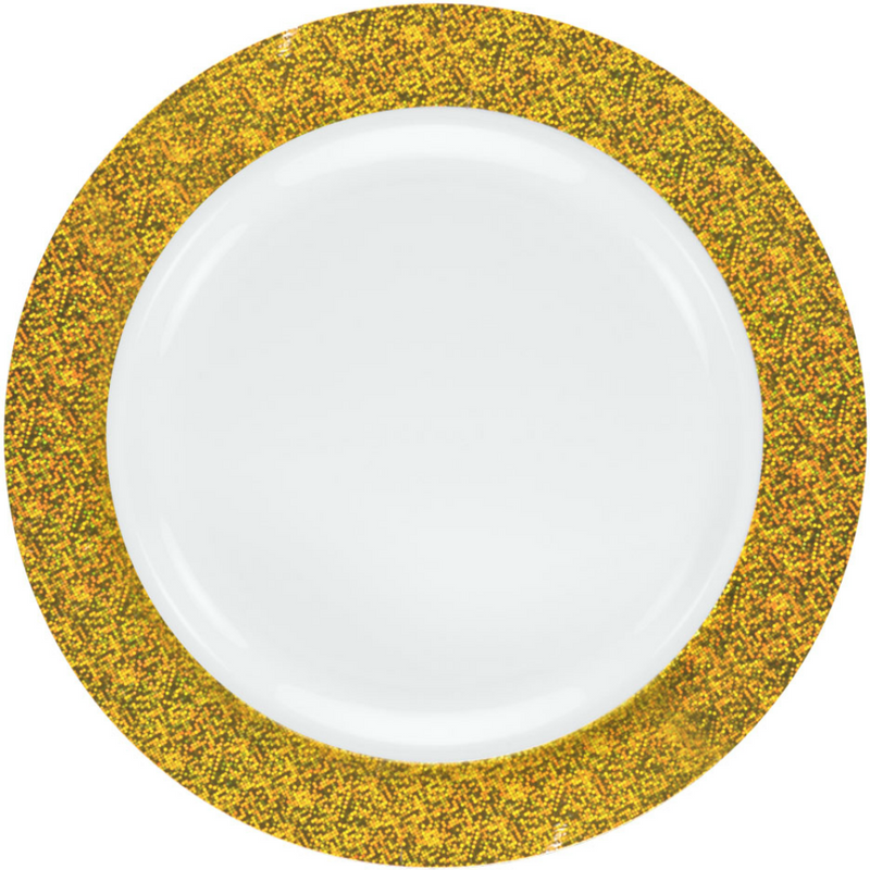 "Decor China-Like Glitter 10.25"" White-Gold Plastic Plates"