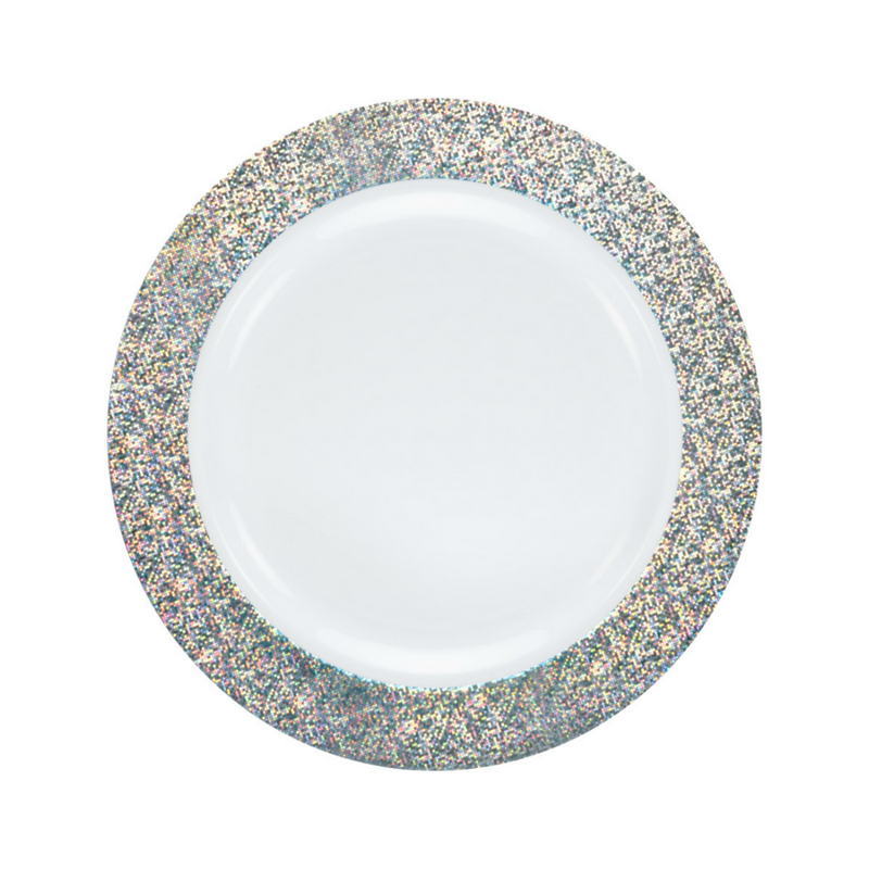 "Decor China-Like Glitter 7.5"" White-Silver Plastic Plates"