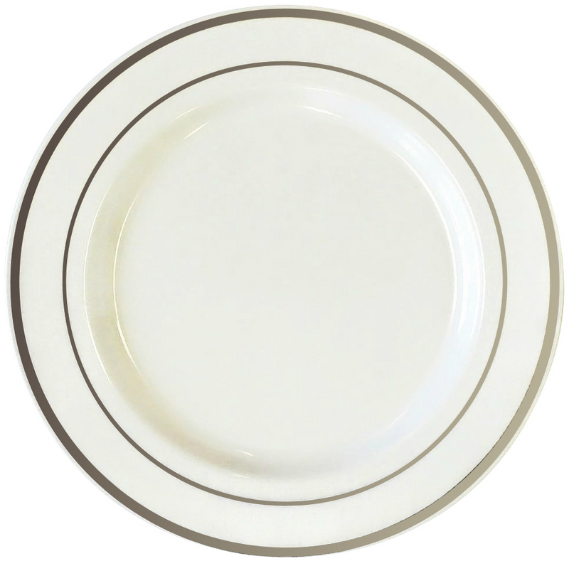 "White 10.5"" Plastic Plates With Metallic Silver Rim"