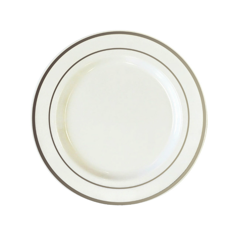 "White 7.5"" Plastic Plates With Metallic Silver Rim"