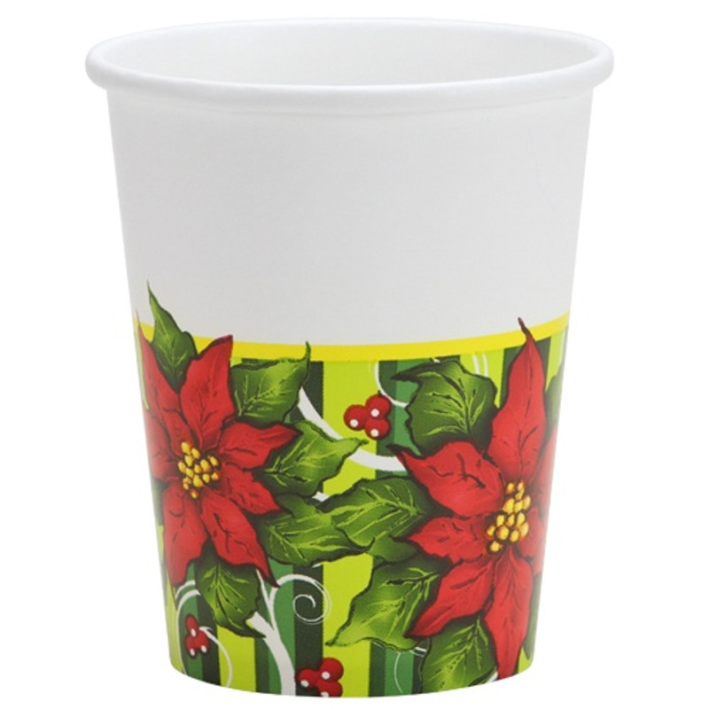 Poinsettia Wreath 9 oz Paper Cups