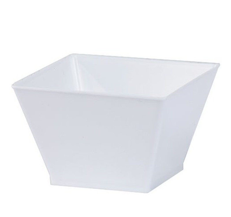 Lillian 8 oz. White Square Plastic Condiment Bowls-240/Case