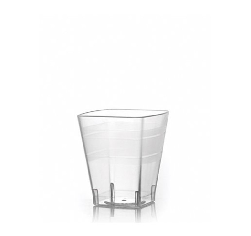 Hard disposable plastic shot cups with translucent stripes - great for weddings and other special events. Made with heavy-weight plastic. Sold in wholesale bulk and retail.